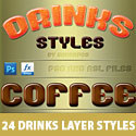 24 Drinks Layer Styles Free PSD and ASL