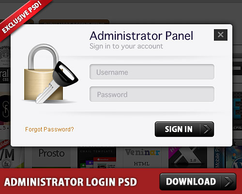 Download Administrator Login Panel PSD