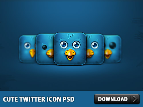 Download Cute Twitter Icon Free PSD