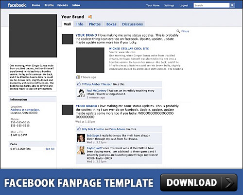 Download Facebook Fanpage Template PSD