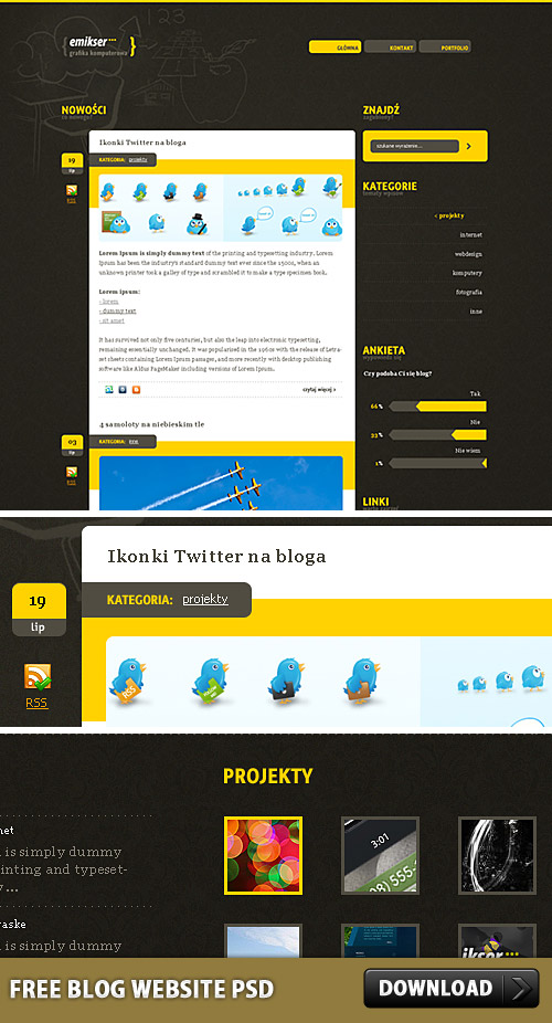 Download Free Blog Website PSD