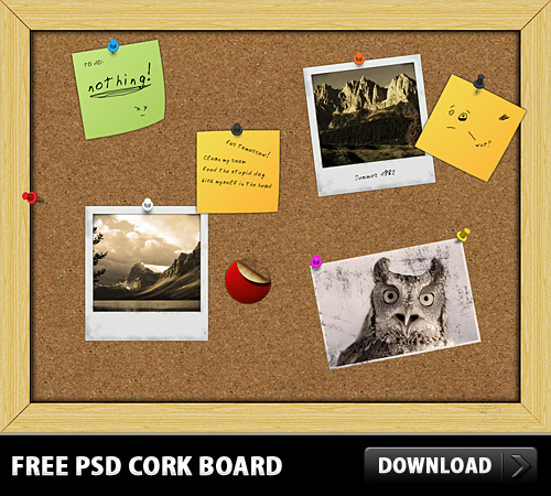 Download Free PSD Cork Board
