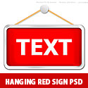Hanging Red sign Template PSD