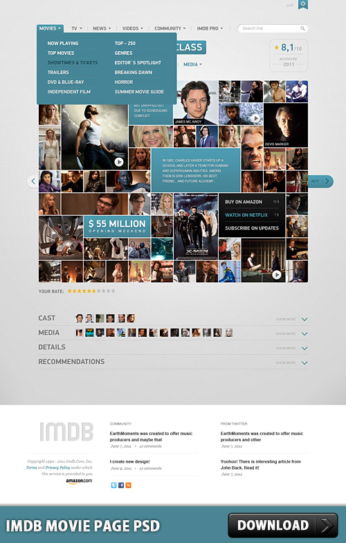 Download IMDB Movie Page PSD