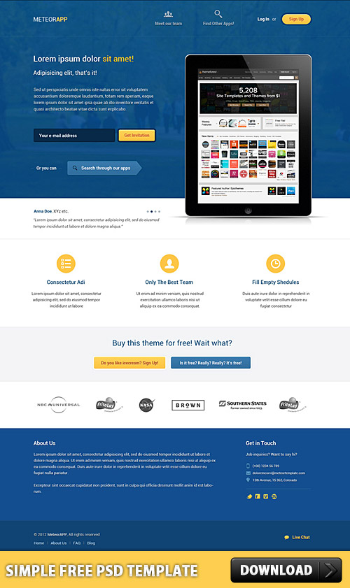 Download Simple Free PSD Template