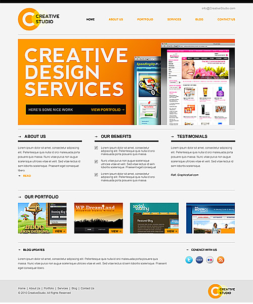 Download Sleek Minimal Website PSD template