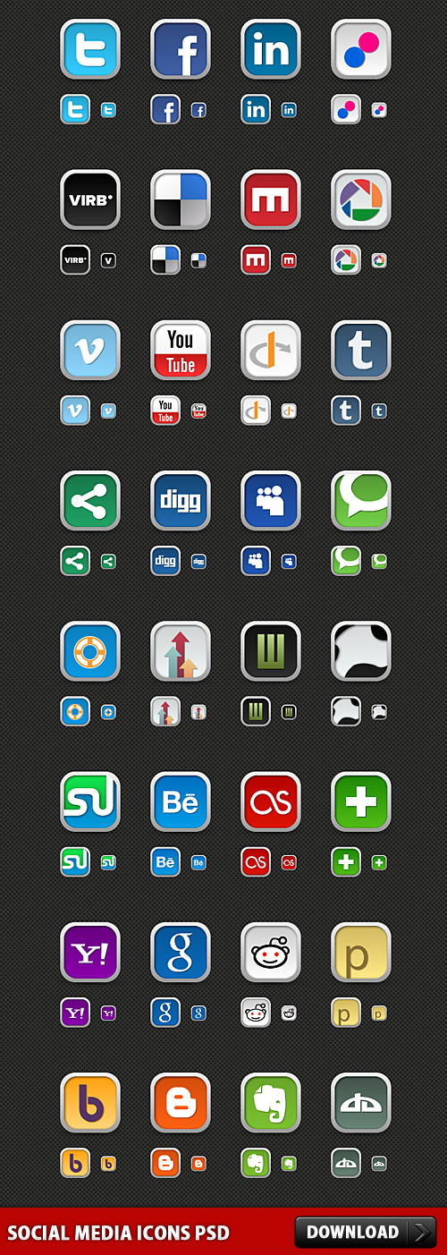 Download Social Media Icons PSD