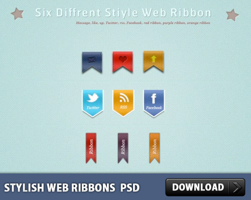 Download Stylish Web Ribbons PSD