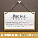 Wooden Note Sign PSD