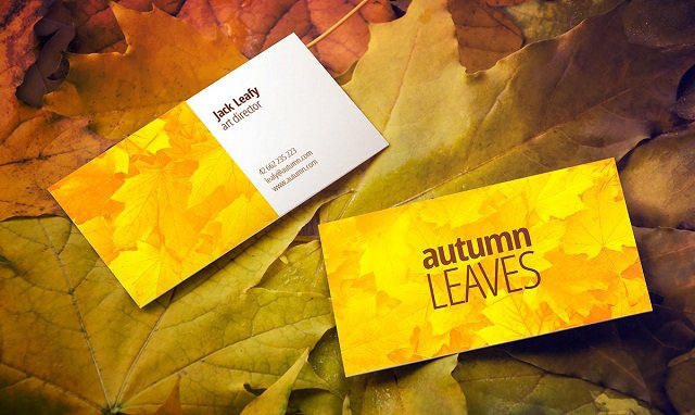Free Autumn Leaves Business Card Mockup