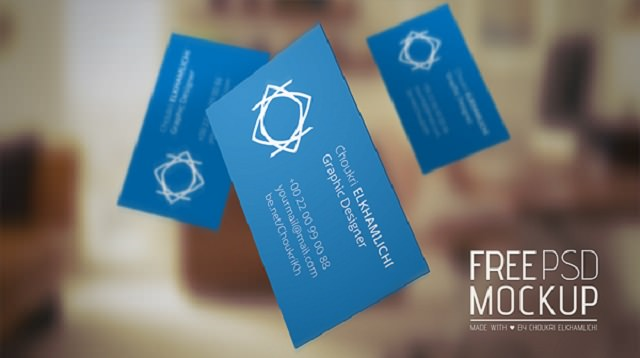 Free PSD Mockup – Business card-014541