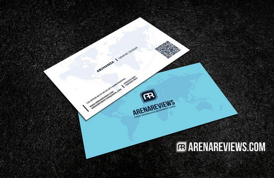 World Map Professional Business Card Template