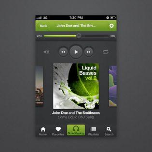 iPhone Music Player App Interface PSD