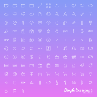 100 Simple Line Icons Set for Web and UI Design
