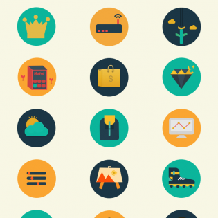 110 Flat Colorful Circle Icons Pack PSD