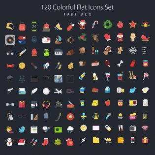 120 Colorful Flat Icons Set Free PSD