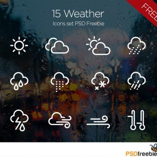 15 Minimal Weather Icons set PSD Freebie