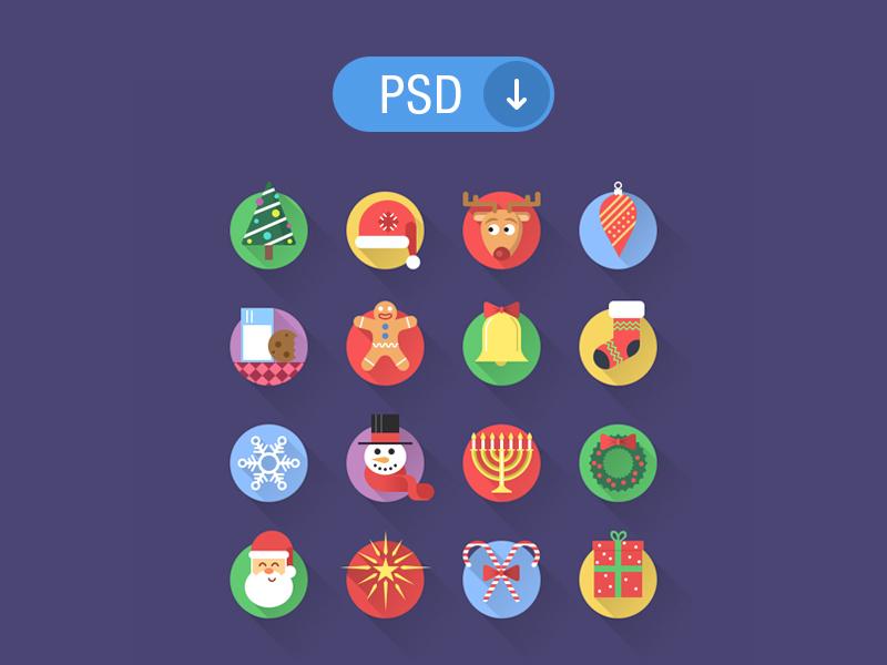 16 Flat Christmas PSD Icons Set