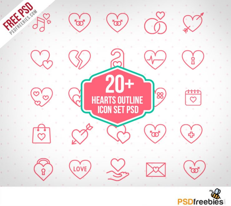 20+ Hearts Outline icon set PSD Freebie
