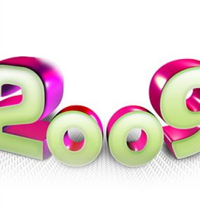 2009 Logo PSD Text Effect Text PSD Layered PSDs Glo 3D