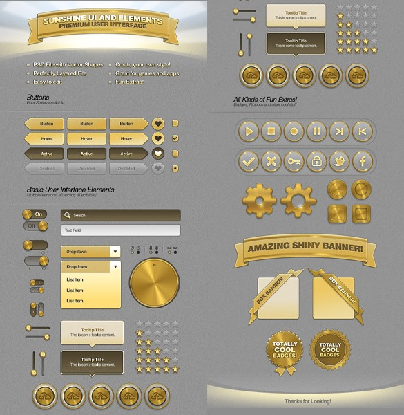Sunshine Web UI Elements Kit PSD