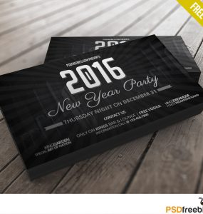 2016 New Years Party invitation card Free PSD