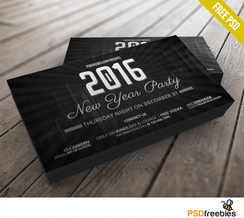2016 new years party invitation card free psd download psd 2016 new years party invitation card free psd stopboris Choice Image