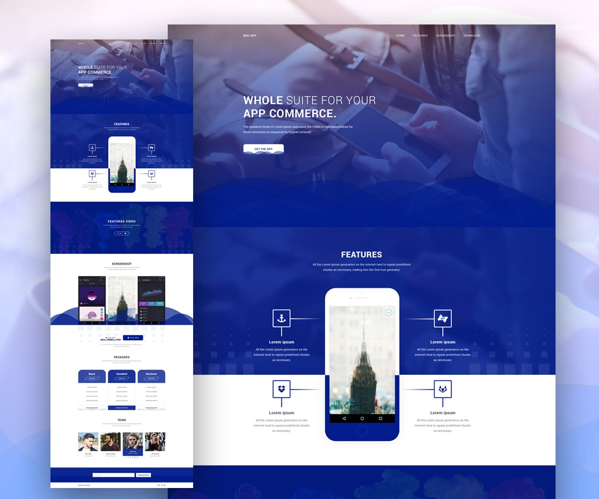 free mobile site template download - app landing page website template download download psd
