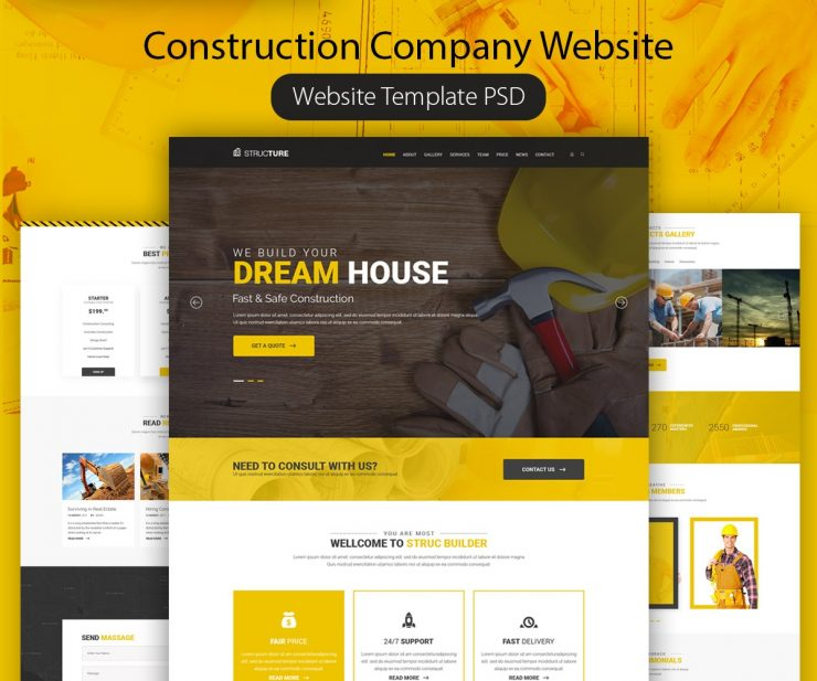 Construction Company Website Template PSD