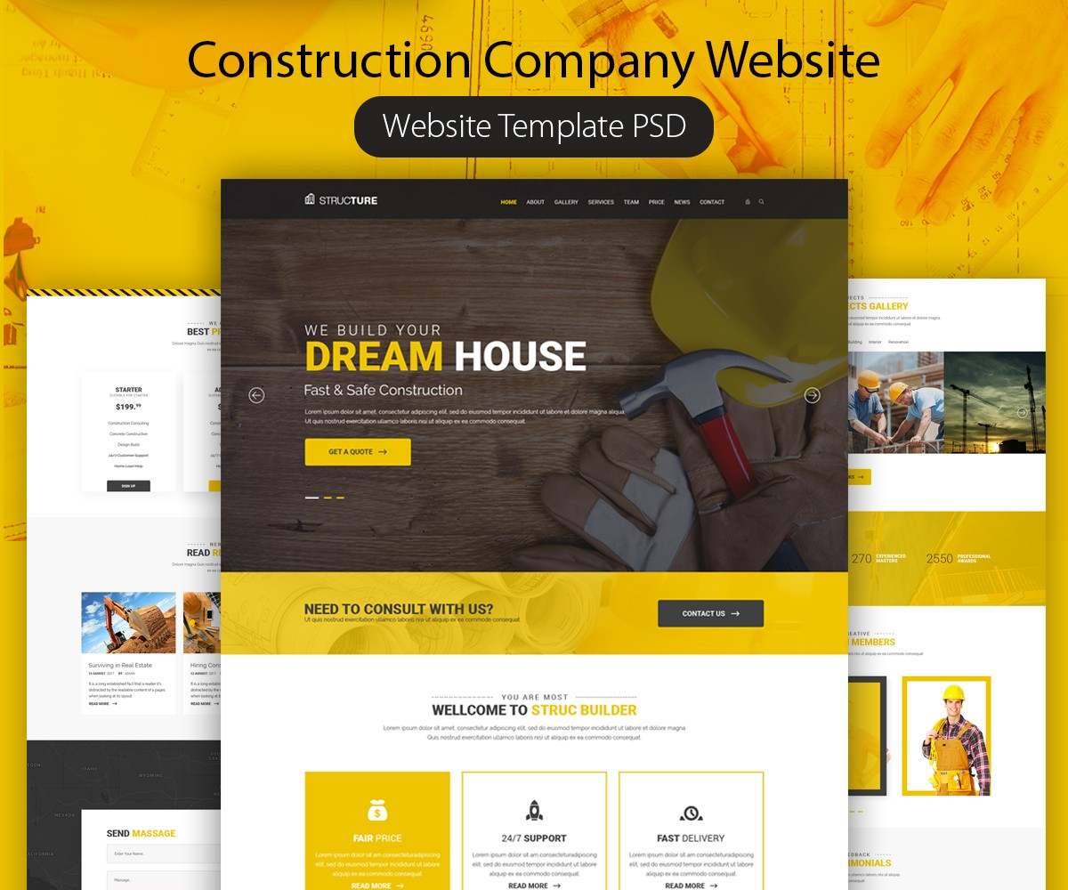 construction company website template psd download psd. Black Bedroom Furniture Sets. Home Design Ideas