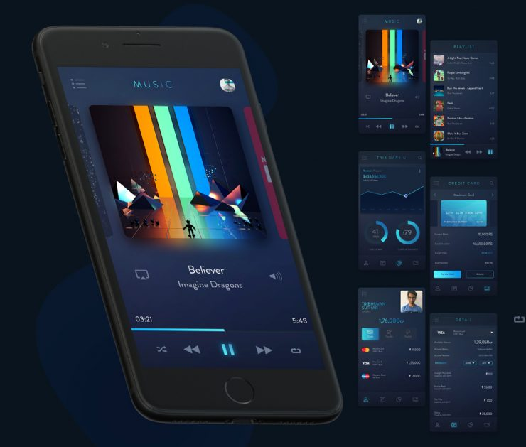 Dark Mobile App UI Kit Free PSD