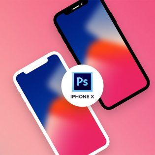 Flat iPhone X Mockup PSD