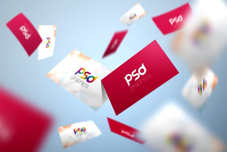 Flying Business Card Mockup PSD