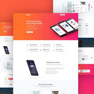 Mobile App Website Template Free PSD