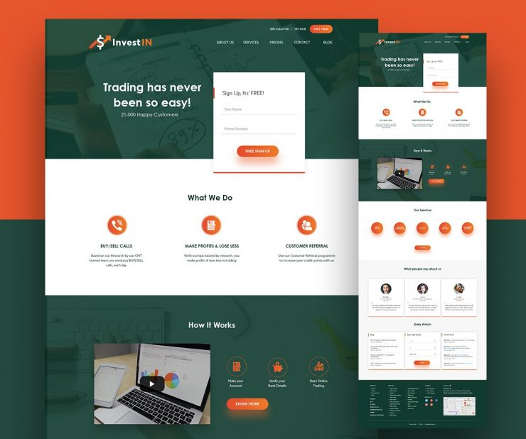 Trading Website Template Free PSD