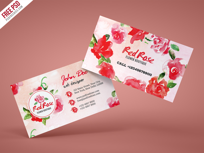 Flower Shop Business Card Free PSD Template Download - Download PSD