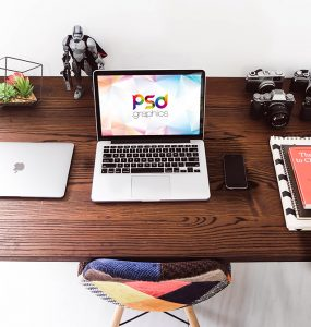 Macbook on Desk Mockup Free PSD