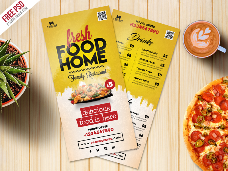 Food Menu Card PSD Template Freebie - Download PSD