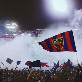 Football Flag in Stadium Mockup PSD