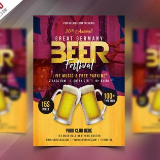 Free Beer Festival Flyer Template PSD