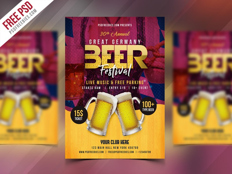 Free Beer Festival Flyer Template PSD Download - Download PSD
