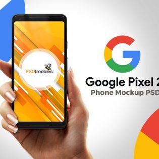 Google Pixel 2 in Hand Mockup PSD