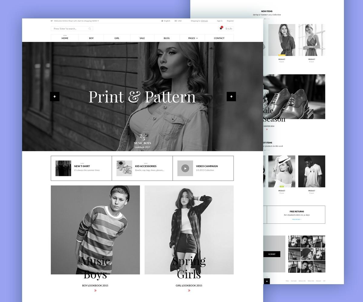 minimalist ecommerce website template psd