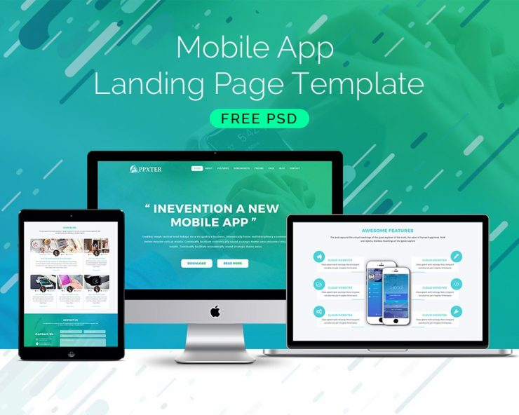 Mobile app landing page template download download psd for Free mobile site template download