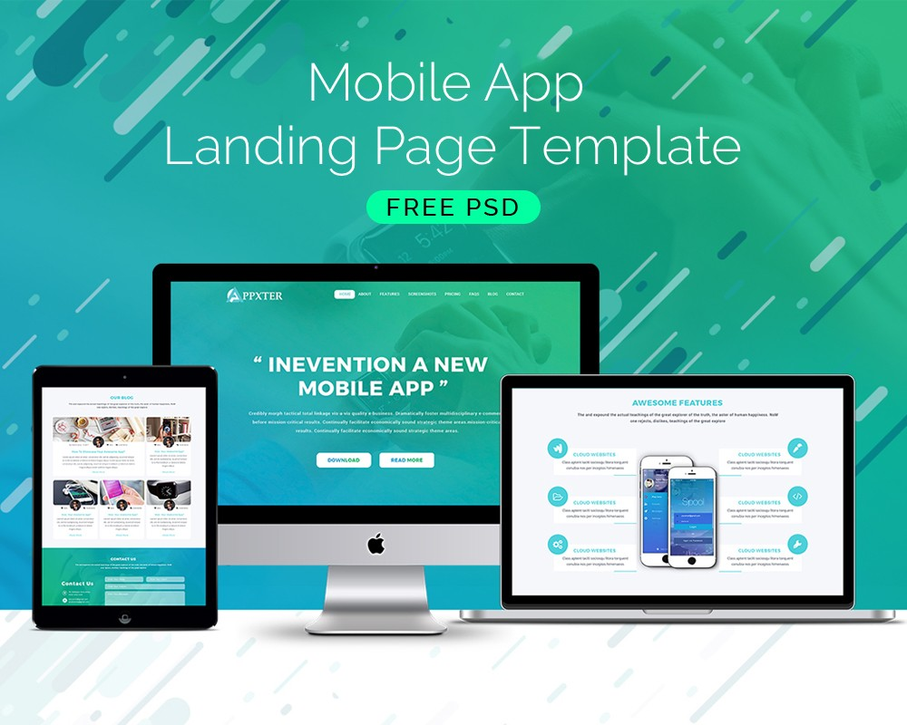 mobile site template free download - mobile app landing page template download download psd