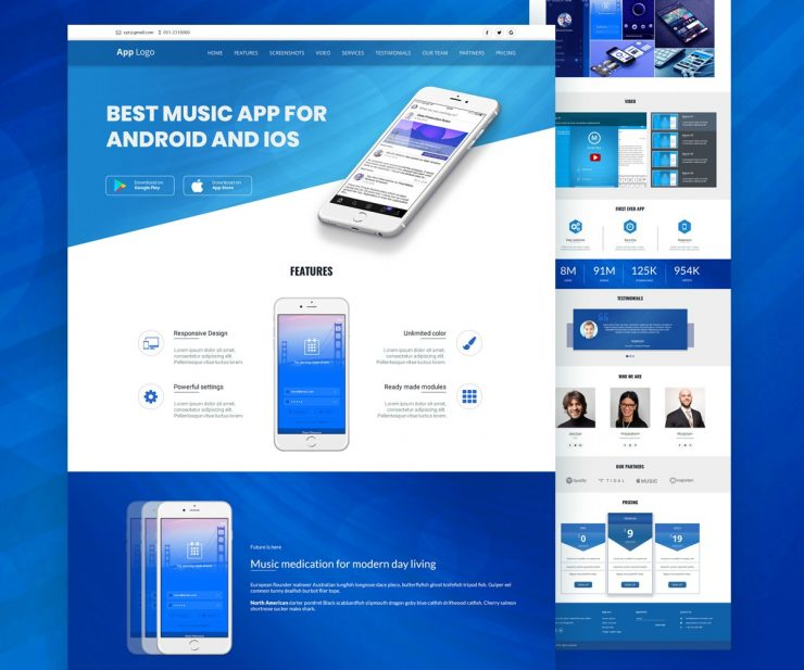 Mobile app landingpage template psd download download psd for Mobile site template free download
