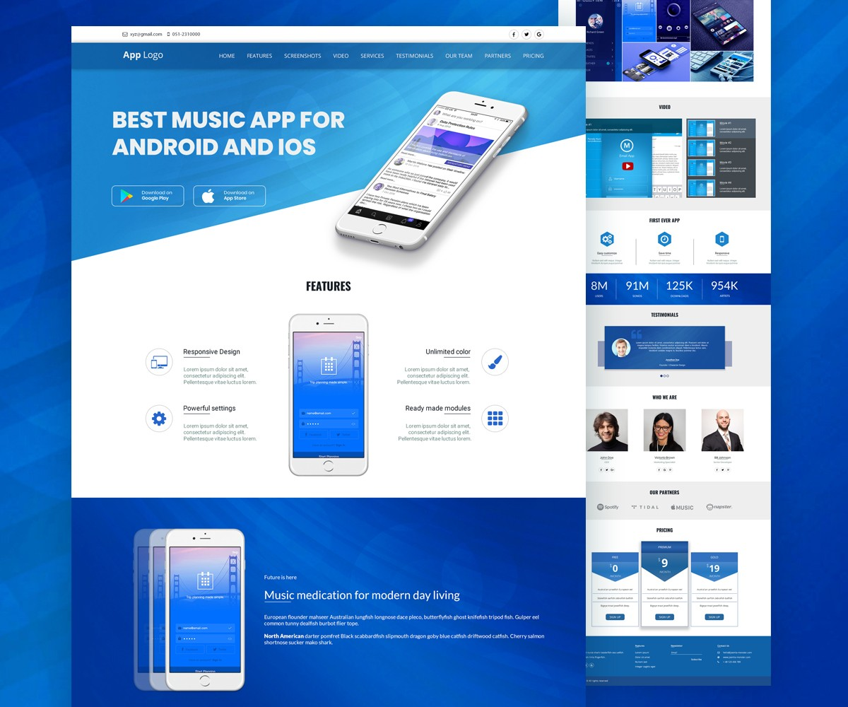free mobile site template download - mobile app landingpage template psd download psd