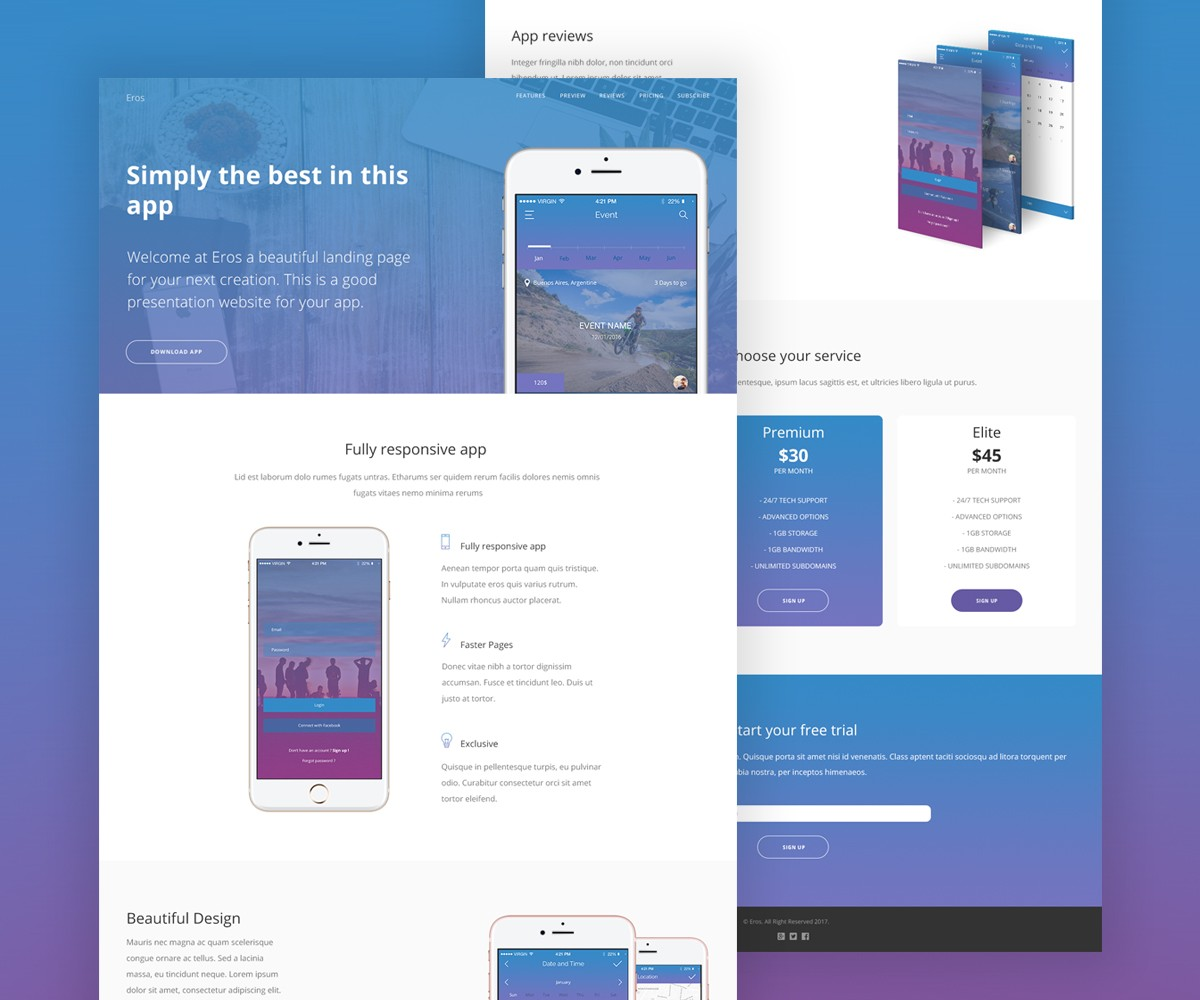 Landing Page Template Ui Kit Psd Mobile App Template Flyer