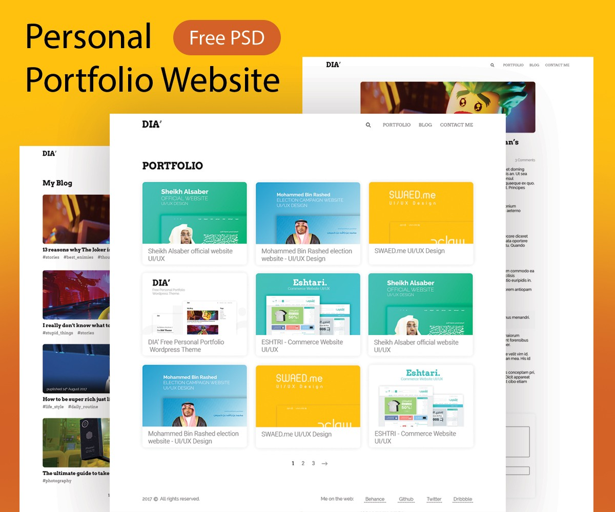 graphic designer portfolio template free download - personal portfolio website template psd download psd
