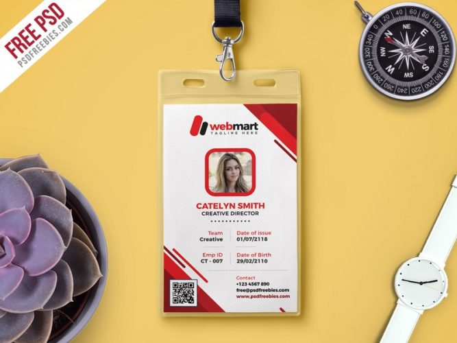 Photo ID Card Template Free PSD